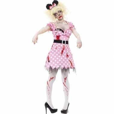 Halloween roze zombie minnie kostuum voor dames