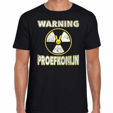 Halloween warning proefkonijn verkleed t shirt zwart voor heren