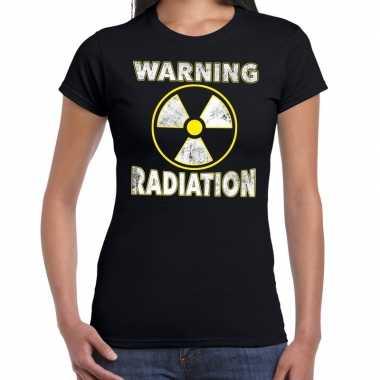Halloween warning radiation verkleed t shirt zwart voor dames