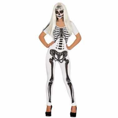 Halloween witte skelet catsuit kostuum voor dames