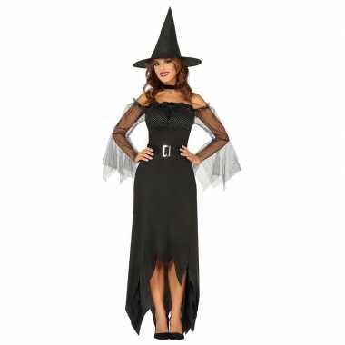 Halloween zwarte lange heksen kostuum voor dames