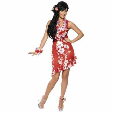 Hawaii kostuum dames jurkje rood