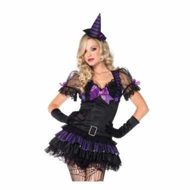Heksen kostuum zwart/paars voor dames