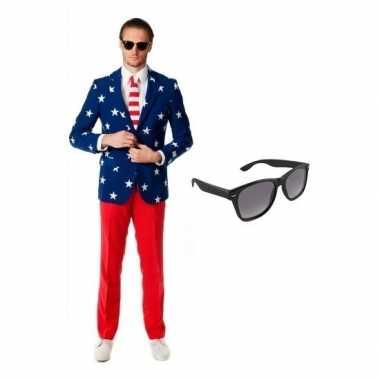 Heren kostuum met amerikaanse vlag print maat 52 (xl) met gratis
