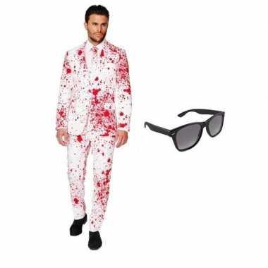 Heren kostuum met bloed print maat 48 (m) met gratis zonnebri