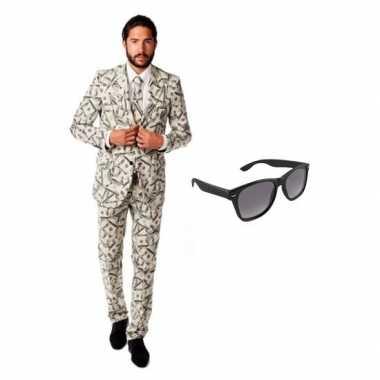 Heren kostuum met dollar print maat 50 (l) met gratis zonnebril