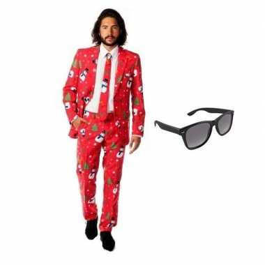 Heren kostuum met kerst print maat 52 (xl) met gratis zonnebril