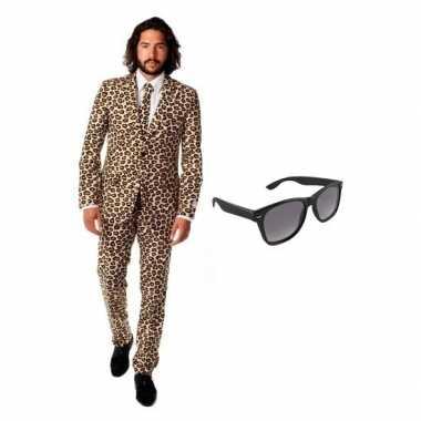 Heren kostuum met luipaard print maat 52 (xl) met gratis zonnebr