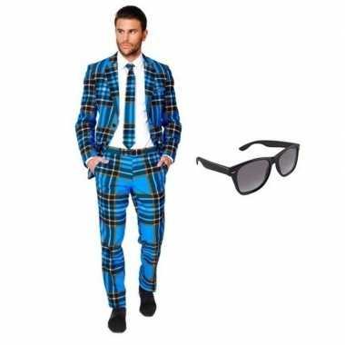 Heren kostuum met schotse print maat 46 (s) met gratis zonnebri