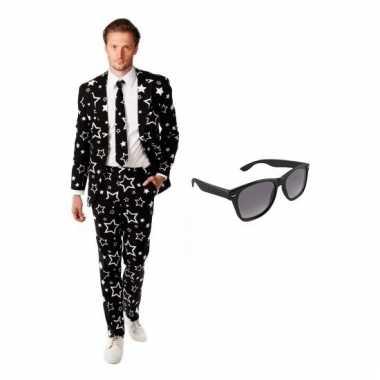 Heren kostuum met sterren print maat 52 (xl) met gratis zonnebri