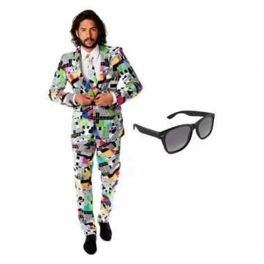 Heren kostuum met televisie print maat 50 (l) met gratis zonnebr