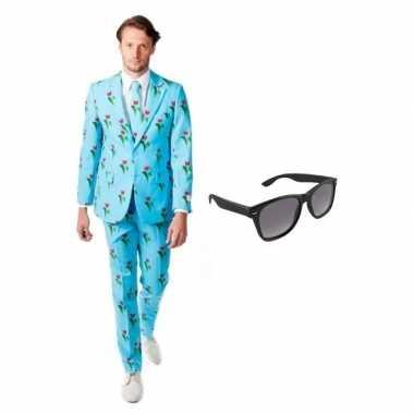 Heren kostuum met tulpen print maat 52 (xl) met gratis zonnebril