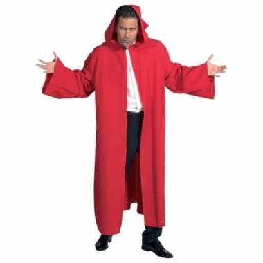 Heren mantel met capuchon rood