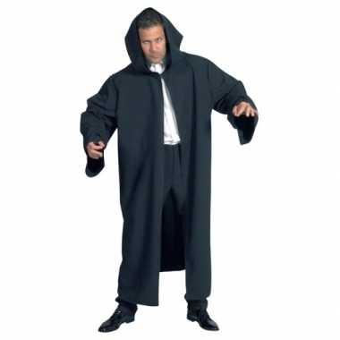 Heren mantel met capuchon zwart