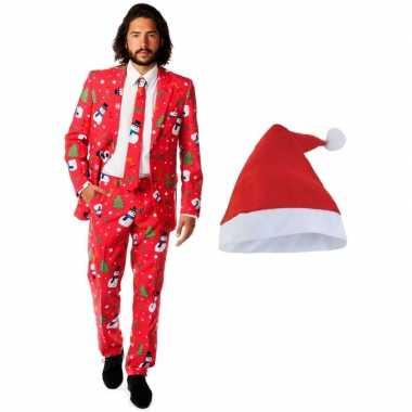 Heren opposuits kerst kostuum rood met kerstmuts maat 48 (m)