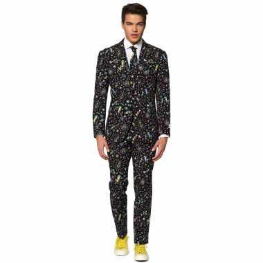 Heren verkleed kostuum/kostuum disco print