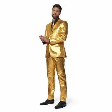 Heren verkleed kostuum/kostuum metallic goud met stropdas