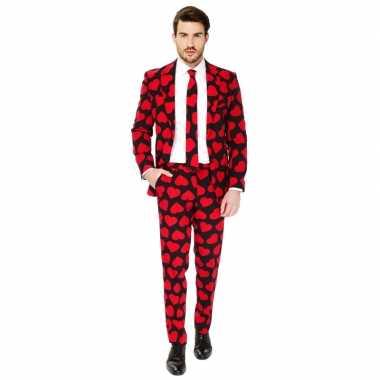 Heren verkleed kostuum/kostuum rode hartjes print