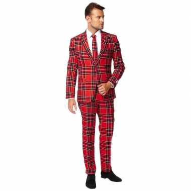 Heren verkleed kostuum/kostuum rode schotse print