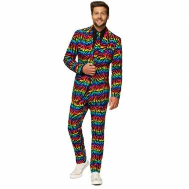 Heren verkleed kostuum/kostuum zebra regenboog print