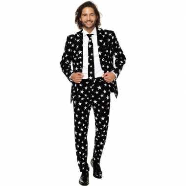 Heren verkleed kostuum/kostuum zwart met sterren print