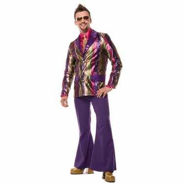 Hippie broek paars met wijde pijpen voor heren