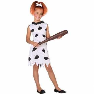Holbewoonster/cavewoman wilma verkleed kostuum/jurk voor meisjes