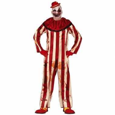 Horror clown billy verkleed kostuum rood/wit voor heren