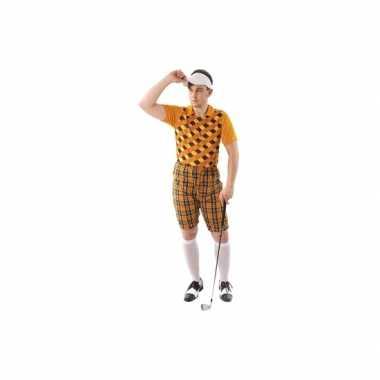 Kostuum golfer oranje voor heren