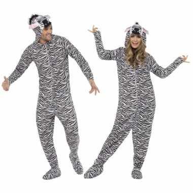 Kostuum zebra all in one voor volwassenen