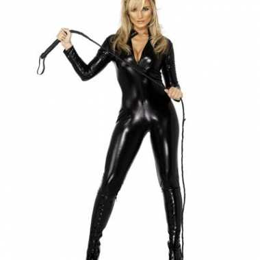 Lederlook kostuumje zwart