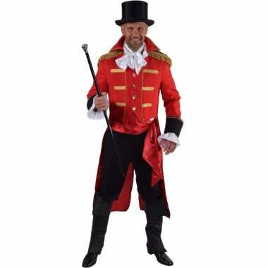 Luxe circus directeur kostuum rood voor heren