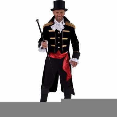 Luxe circus directeur kostuum zwart voor heren