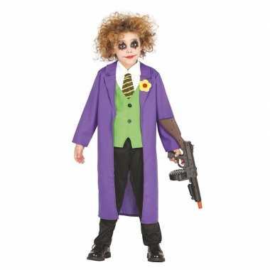 Luxe paarse horror clown joker kostuum voor kinderen