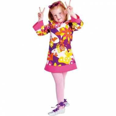 Meisjes flower power jurk