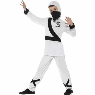 Ninja kostuum wit/zwart voor kinderen