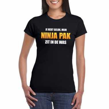 Ninja kostuum zit in de was dames carnaval t shirt zwart