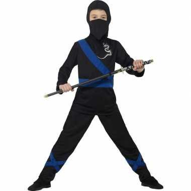 Ninja kostuum zwart/blauw voor kinderen