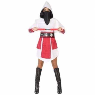 Ninja vechter verkleed jurk/kostuum wit/rood voor dames