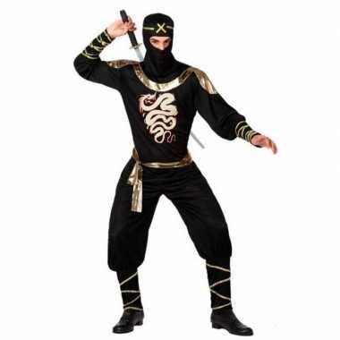 Ninja vechter verkleed kostuum zwart/goud voor heren