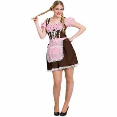 Oktoberfest bruine/roze tiroler dirndl verkleed kostuum/jurkje voor d