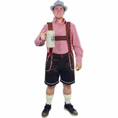Oktoberfest bruine tiroler lederhosen verkleed kostuum/broek voor her