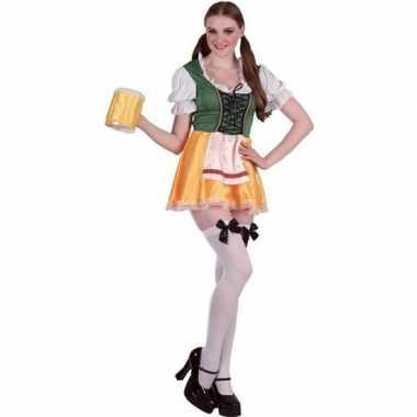 Oktoberfest groene/gele tiroler dirndl verkleed kostuum/jurkje voor d