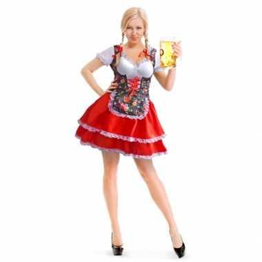Oktoberfest rode/bloemen tiroler dirndl verkleed kostuum/jurkje voor