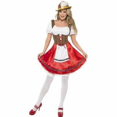 Oktoberfest rode/bruine tiroler dirndl verkleed kostuum/jurkje voor d