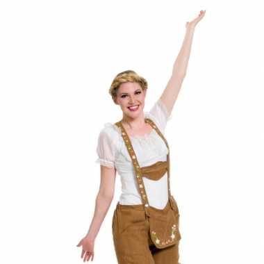 Oktoberfest witte tiroler blouse verkleed kostuum/top voor dames