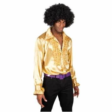 Overhemd goud met rouches heren