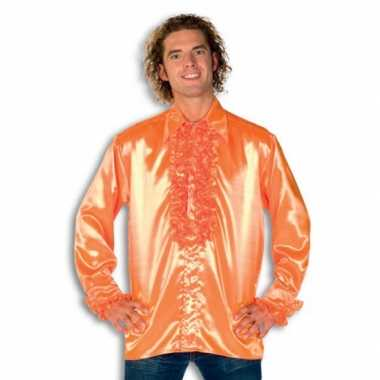 Overhemd oranje met rouches heren