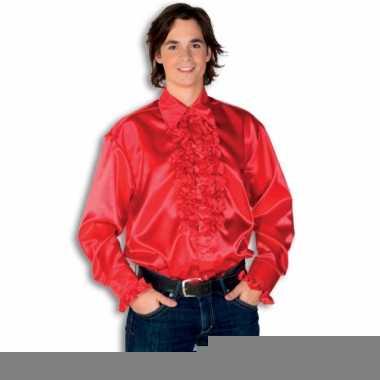 Overhemd rood met rouches heren