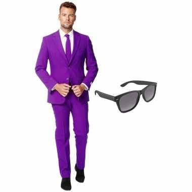 Paars heren kostuum maat 54 (xxl) met gratis zonnebril